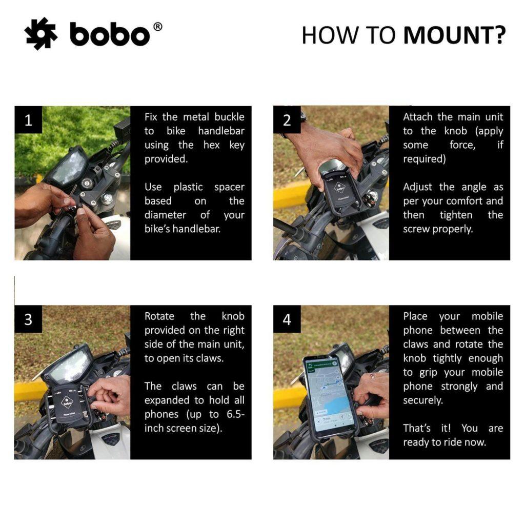 BOBO Jaw-Grip Aluminium Bike / Cycle Phone Holder Motorcycle Mobile Mount