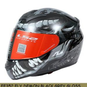 LS2 FF352 DEMON GLOSS BLACK GREY